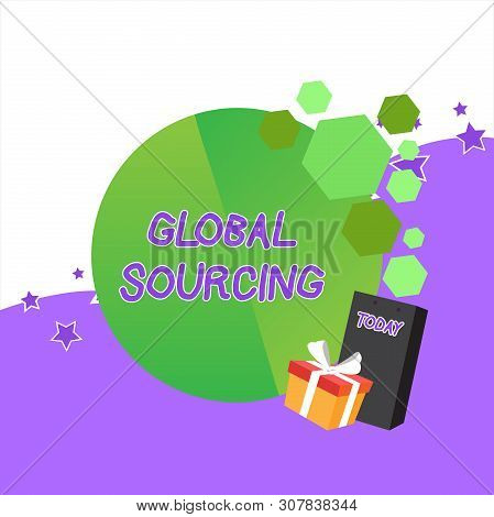 Handwriting text Global Sourcing. Concept meaning practice of sourcing from the global market for goods Greeting Card Poster Gift Package Presentation Box Decorated by Bowknot. stock photo