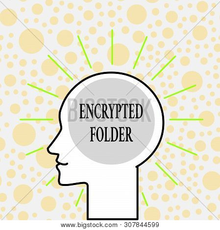 Writing note showing Encrypted Folder. Business photo showcasing protect confidential data from attackers with access Outline Silhouette Human Head Surrounded by Light Rays Blank Text Space. stock photo