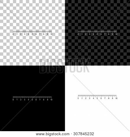 Measuring scale, markup for rulers icon isolated on black, white and transparent background. Size indicators. Different unit distances. Vector Illustration stock photo