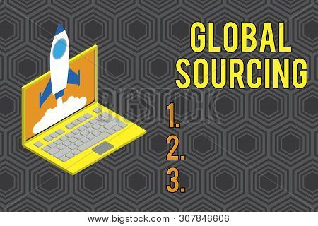 Conceptual hand writing showing Global Sourcing. Business photo text practice of sourcing from the global market for goods Rocket launching clouds laptop Startup project growing SEO. stock photo