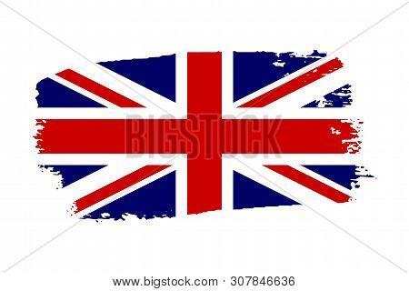 Great Britain flag. Jack UK grunge flag isolated white background. English United Kingdom design. British national symbol England country, patriotism. Graphic sketch brush stroke Vector illustration stock photo
