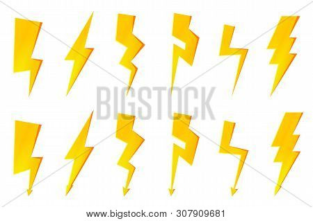 Electric flash and thunder bolt arrows icons. High voltage and thunderstroke sign stock photo