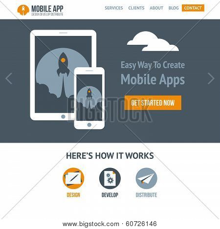 Trendy flat vector website template for company creating mobile applications and responsive websites stock photo
