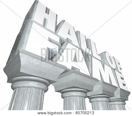 Hall of Fame words in 3d letters on stone or marble columns to illustrate a legend in sports or entertainment inducted into a special honorary place for memorial stock photo