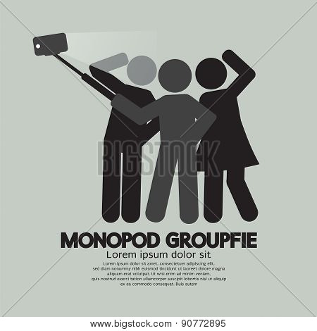 Groupfie Symbol A Group Selfie Using Monopod Vector Illustration. EPS 10 stock photo