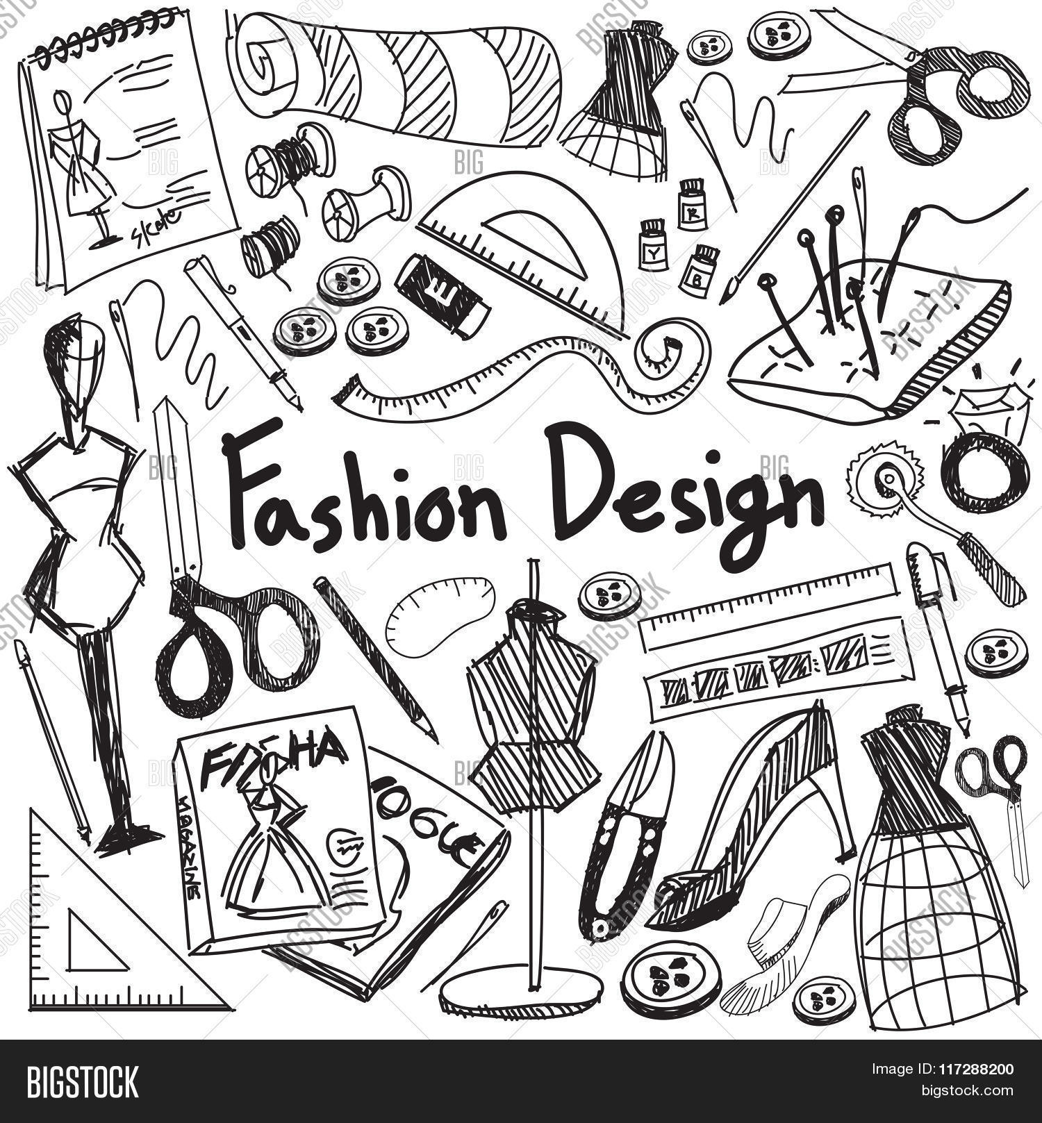 Fashion Design Education Handwriting Doodle Icon Tool Sign And Symbol In White Isolated Background P 117288200 Image Stock Photo