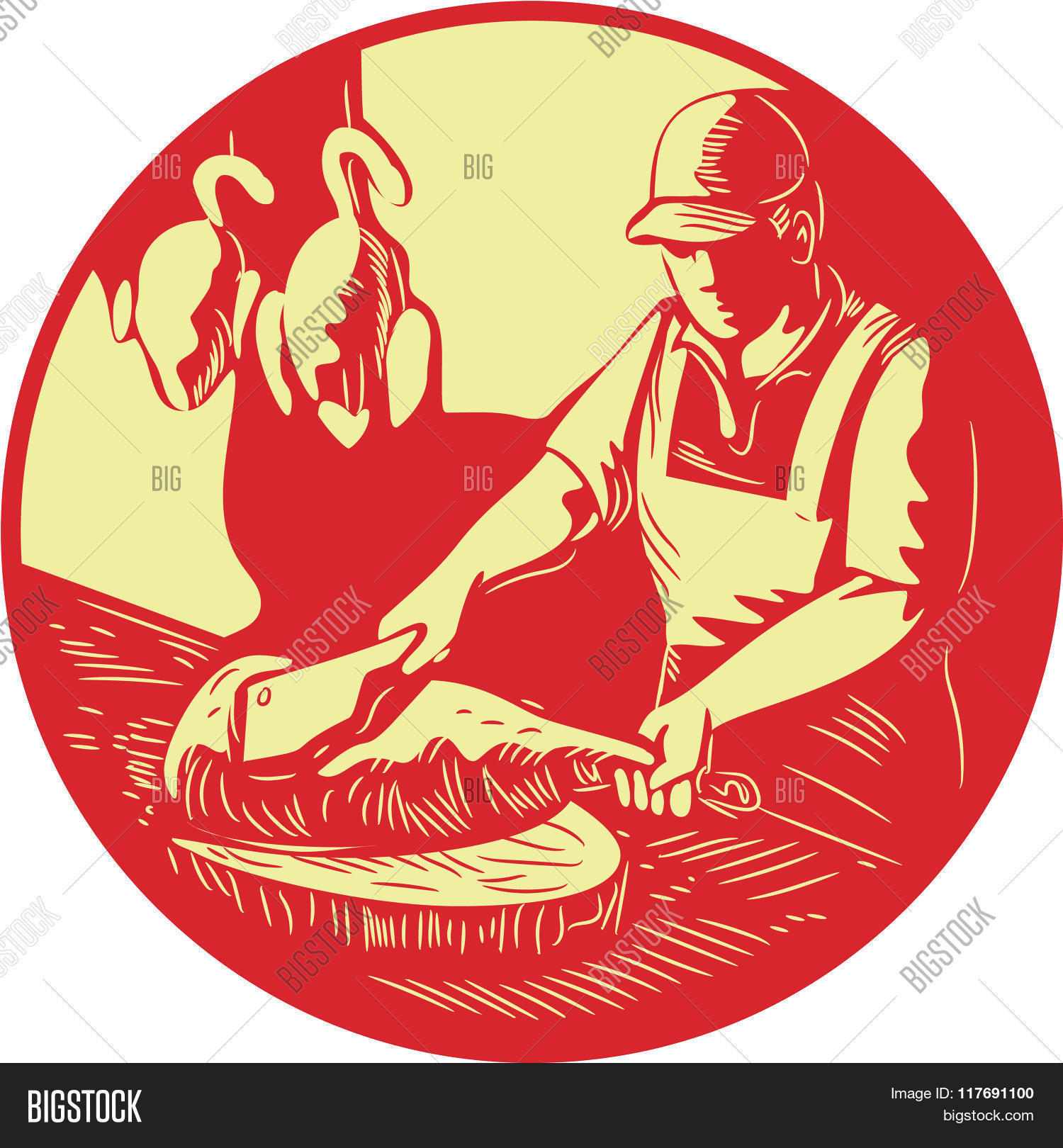 apron,artwork,asian,block,board,caterer,catering,chef,chicken,chinese,chop,chopping,circle,cleaver,cook,duck,engraving,food,graphic,hat,illustration,knife,linocut,linoleum-block,male,man,market,meat,oriental,oval,poultry,printmaking,prints,retro,selling,stall,stand,wood,wood-block,woodblock,woodcut,worker