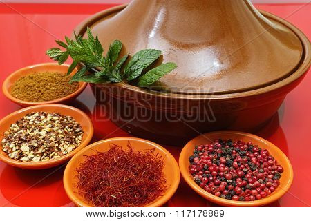 Moroccan tahine with four bowls with saffron pepper ras el hanout fresh mint on red background delicious North African spicy food stock photo