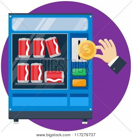 Soda cans vending machine with hand drop gold dollar coin vector flat illustration stock photo