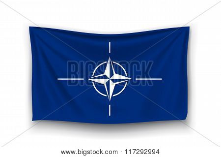 illustration of nato realistic flag with shadow on white background stock photo