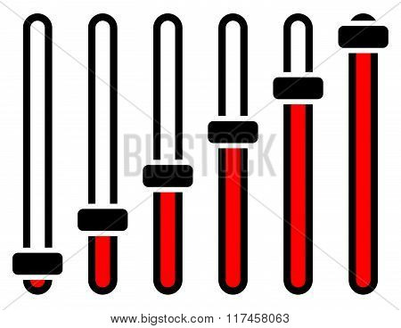 Vertical adjusters sliders faders or potentiometers in sequence. Simple user interface elements stock photo