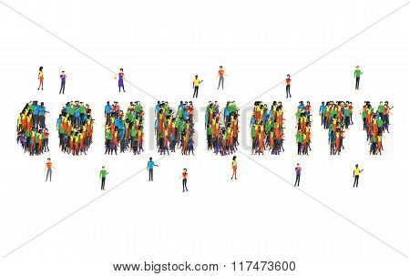 Community word form people design. Community and people, community people, community icon, social team, teamwork people together, connection people, friendship and partnership people illustration stock photo
