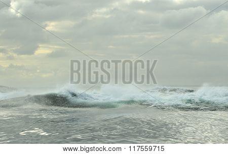 Powerful Ocean Waves Breaking. Wave On The Surface Of The Ocean.