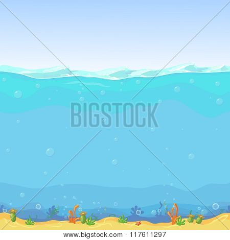Underwater seamless landscape, cartoon background for game design