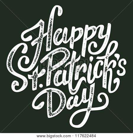 Happy Saint Patrick\'s Day Handwritten Message, Brush Pen Lettering, Postcard, Vector Illustration