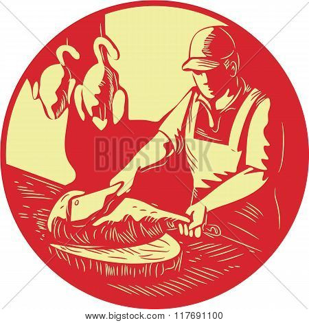 Illustration of a Chinese Asian chef cook chopping meat with meat cleaver knife on wood block with duck meat hanging in the background set inside oval shape done in retro woodcut style. stock photo