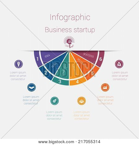 Vector semicircle template infographics startup business concept with 6 parts options steps illustration for cyclical diagram pie chart area chart business presentation web design stock photo