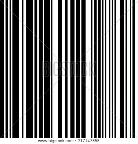 Black and White Straight Vertical Variable Width Stripes, Monochrome Lines Pattern, Vertically Seamless, Straight Parallel Vertical Lines, Fashion Geometric Monochrome Random Streaks stock photo