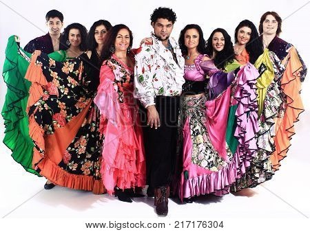 Gypsy dance.a dance show.the national costume.ethnic culture.the photo with blank space for text stock photo