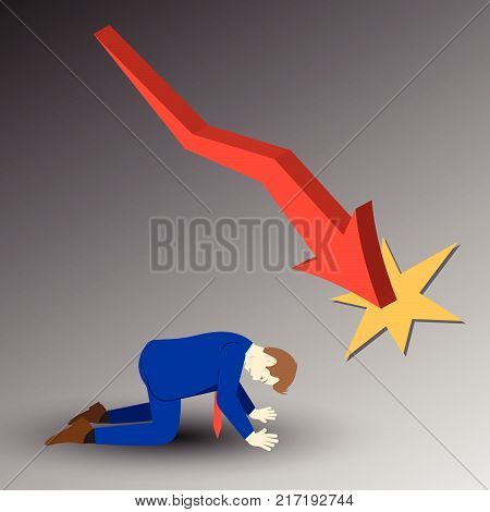 Vector Illustration Business Concept Designed As A Businessman Is Kneeling Under Declining Red Line Graph. He Is Despairing To Decreased Profit; Full Of Disappointment Depression And Discouragement. stock photo