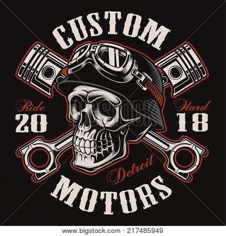 Biker skull with crossed pistons. Shirt graphic. All elements colors text (curved) are on the separate layer. (COLOR VERSION) stock photo