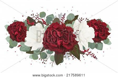 Vector floral bouquet design: garden red burgundy Rose flower white peony seeded Eucalyptus branch amaranthus & silver green fern leaves Watercolor designer element. Wedding invite card greeting stock photo