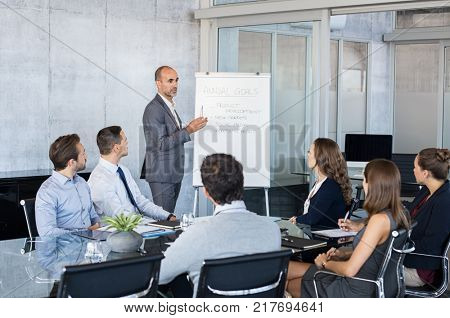 Confident mature businessman giving a presentation to his team in office. Business brief with annual