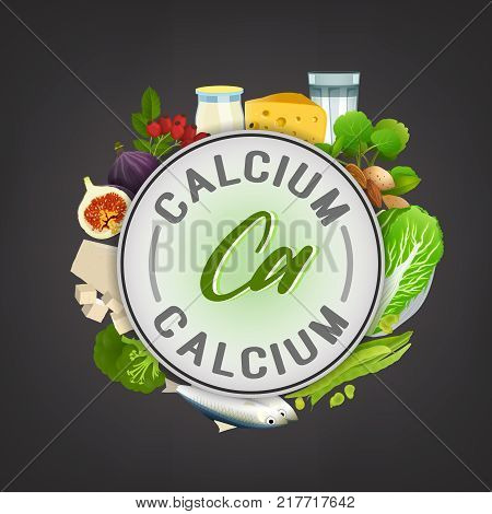 Calcium banner. Beautiful vector illustration with caption lettering and top foods highest in calcium isolated on a dark grey background. Useful for leaflet, brochure or poster design stock photo