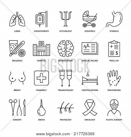 Hospital, medical flat line icons. Human organs, stomach, brain, flu, oncology, plastic surgery, psychology breast cancer Health care clinic thin linear signs stock photo