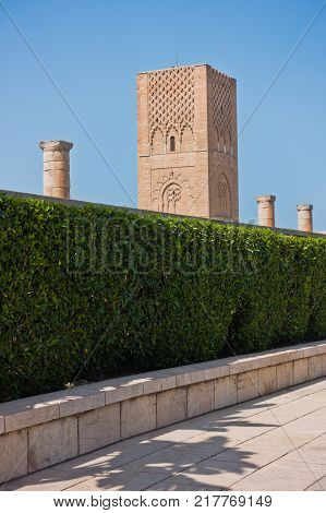 Hassan tower, 12th century minaret with ruins of the greatest mosque in the world, Rabat, Morocco, Africa stock photo