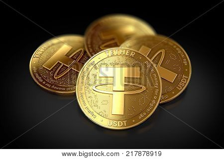 Stack of four golden Tether (USDT) coins laying on the black background. 3D rendering stock photo