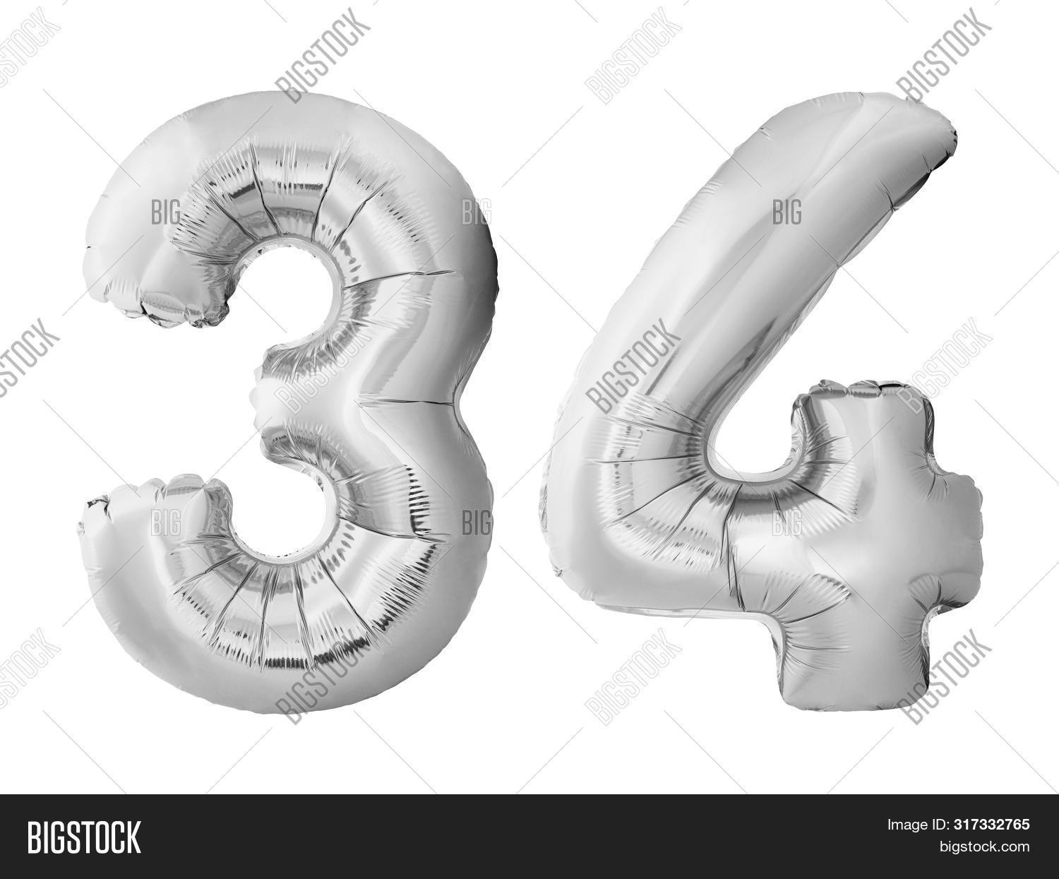 Number 34 Thirty Four Made Of Silver Inflatable Balloons Isolated On White Background. Pink Helium B