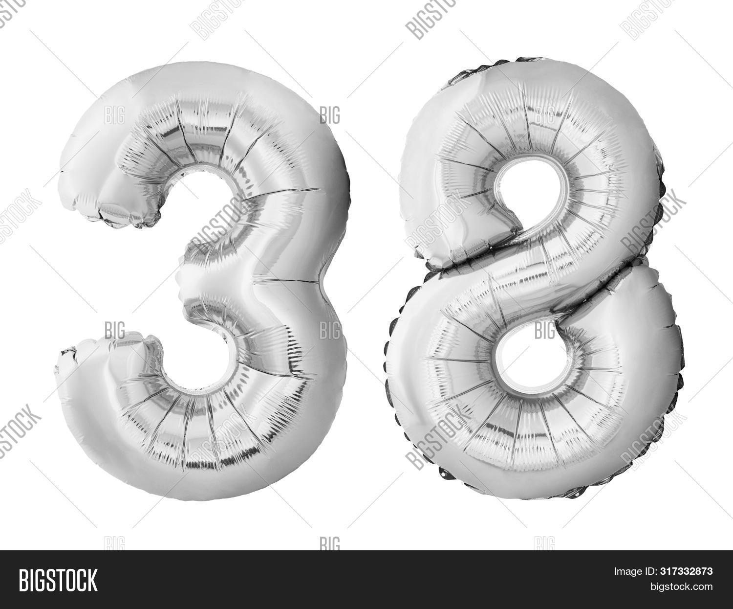 Number 38 Thirty Eight Made Of Silver Inflatable Balloons Isolated On White Background. Pink Helium