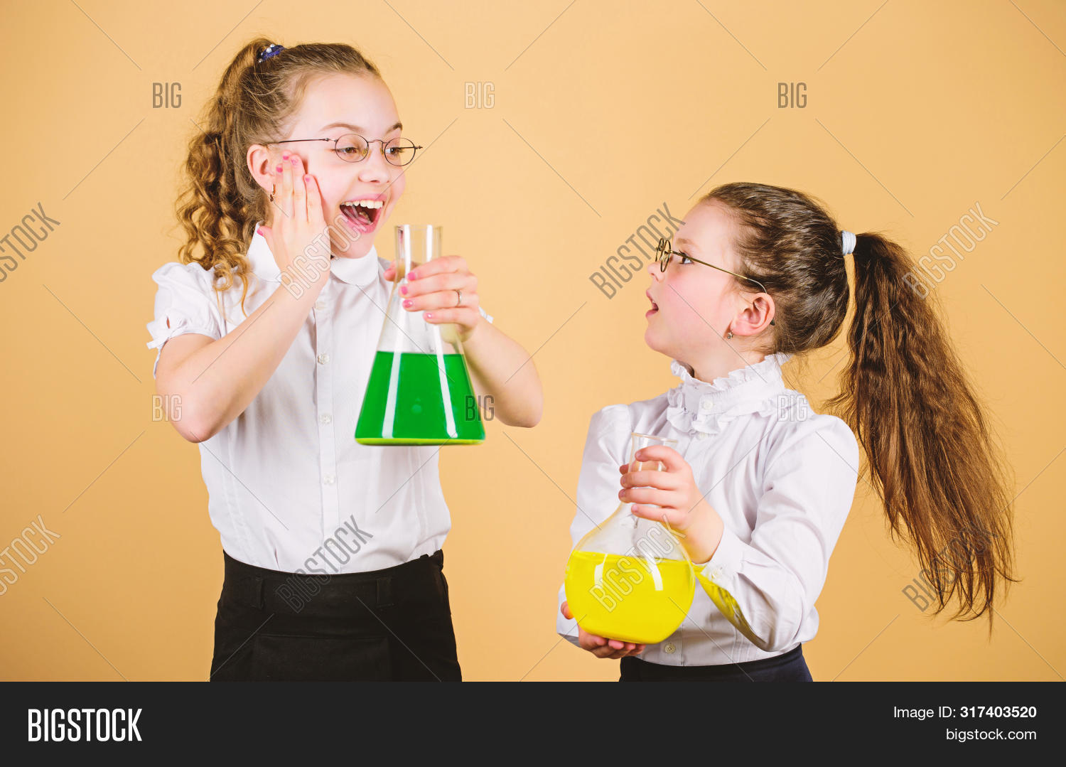 Schoolgirls Friends With Chemical Liquids. Childhood And Upbringing. Knowledge And Information. Expe
