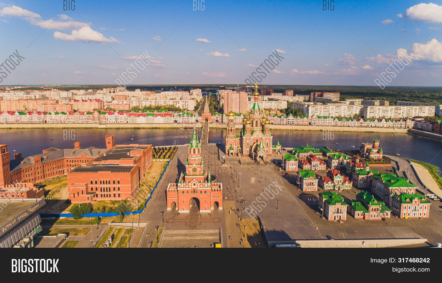 View of the Cathedral of the Annunciation of the Blessed Virgin Mary with a monument Yoshkar Ola city. Mari El, Russia.