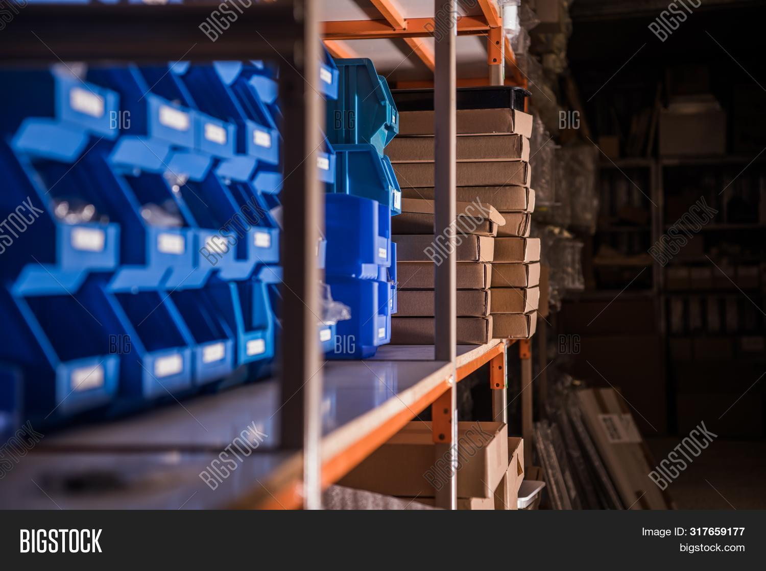 Retail Store Racking Systems For Retail Warehouses. Products Management And Storing. Industry Concep