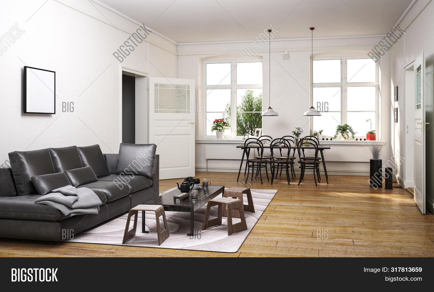 3d,apartment,architecture,black,chairs,comfortable,couch,daylight,decor,design,dining,flat,floor,furnishing,furniture,home,inside,interior,leather,living room,long,lounge,luxury,modern,open-plan,property,receding,render,rendering,sofa,spacious,stools,table,throw,walls,white,windows,wood