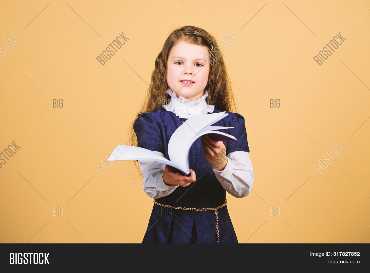 Basic Knowledge. Back To School. Knowledge Day. Serious About Studying. Schoolgirl Adorable Child. C