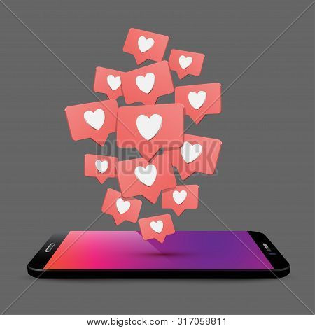 Mobile phone likes and comments 3d realistic vector illustration. Black smartphone perspective view. Social media app concept. SMM, blogging. Telephone with speech bubbles and hearts isometric clipart stock photo