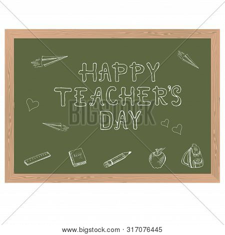 Happy Teachers Day Banner. White Lettering On Green Dashboard In Wood Frame, Yellow Red Maple Leaves