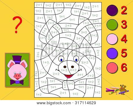 Educational page with exercises for children on addition. Need to solve examples and paint the portrait of a piglet in relevant colors. Developing skills for counting. Printable worksheet for kids. stock photo