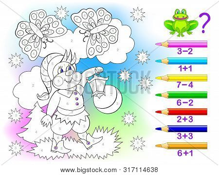 Educational page with exercises for children on addition and subtraction. Solve examples and paint the gnome in relevant colors. Developing skills for counting. Printable worksheet for kids textbook. stock photo