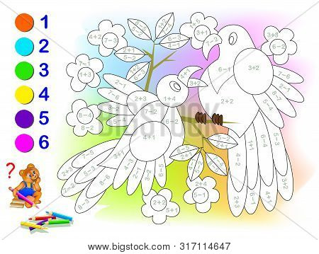 Educational page with exercises for children on addition and subtraction. Solve examples and paint the birds in relevant colors. Developing skills for counting. Printable worksheet for kids textbook. stock photo
