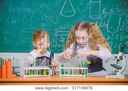 At chemistry lesson. Little school children holding test tubes at lesson. Small schoolgirls learning lesson at school. Having school lesson in science classroom stock photo