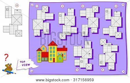 Logic puzzle game for kids. Need to find correct top view of buildings. Worksheet for school textbook. Printable page for brainteaser book. Development of children spatial thinking skills. stock photo