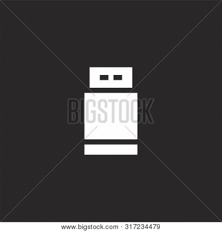 flash drive icon. flash drive icon vector flat illustration for graphic and web design isolated on black background from photography collection. flash drive icon trendy and modern flash drive symbol for logo, web, app, UI. flash drive icon simple sign. stock photo
