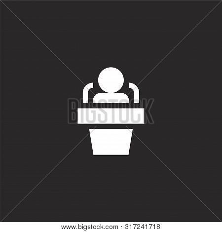 interview icon. interview icon vector flat illustration for graphic and web design isolated on black background from interview collection. interview icon trendy and modern interview symbol for logo, web, app, UI. interview icon simple sign. stock photo