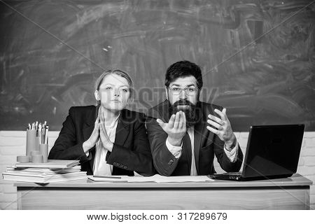 Teacher principal decide who will enter private school. Interviewing enrollee. College enrollee. Entrance examination. Apply to enter high school. Selection committee concept. Private elite school stock photo