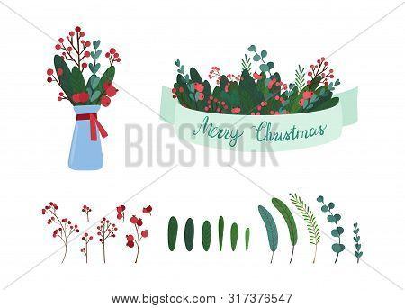 Mistletoe tree botanic decor elements illustrations set. Traditional Christmas symbolic tree leaves, berries, bouquet isolated on white background. Mistletoe foliage decorated with ribbon, lettering stock photo