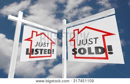 Just Listed Sold Real Estate Home for Sale Sign 3d Illustration stock photo